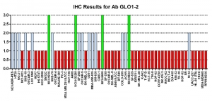 Click to enlarge image Immunohistochemistry of CPTC-GLO1-2 for NCI60 Cell Line Array. Data scored as: