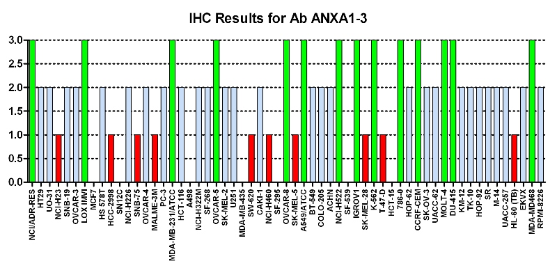 Click to enlarge image Immuno-histochemistry of CPTC-ANXA1-3 for NCI60  Cell Line Array at titer 1:100